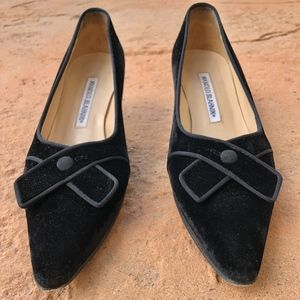Manolo Blahnik suede low-heels with criss cross